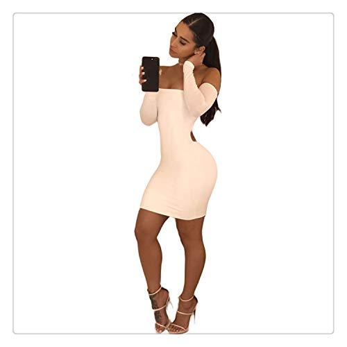 990531f06 Womens Long Sleeve Dresses Ladies Hollow Bandage Lace Up Bodycon Cocktail  Night Club Party Dress White