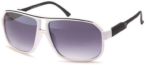 Sense42 Retro Sonnenbrille Two Tone Weiß Schwarz, flexiblen Federscharnier Bügeln, Nerdbrille Damen Herren Unisex mit Brillenbeutel (Wayfarer Two Tone Sonnenbrille)