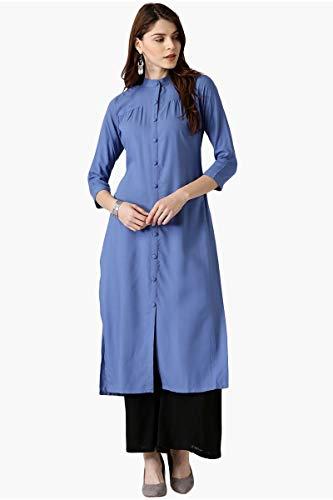 Indische Frauen Rayon Kurti Kurta Tunika Ethnischen Stil Kameez Gerade Blau Kurta