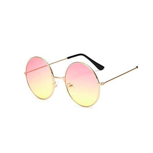 Sportbrillen, Angeln Golfbrille,Retro Small Round Sunglasses Women Vintage Brand Shades Black Metal Sun Glasses For Women Fashion Designer Lunette Pink yellow