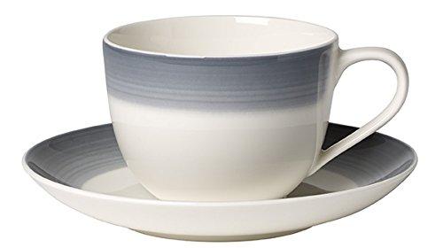 Villeroy & Boch Colourful Life Cosy Grey Tasse à café avec Assiette, 2 pièces, Premium Porcelaine, Gris