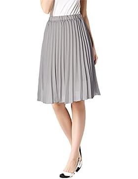 uideazone verano de Bohemia gasa falda mujer alta cintura plisado Midi Boho faldas