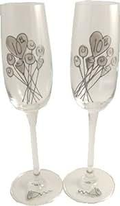 10 ° Matrimonio Latta Anniversario Paio di Calici Per Champagne Fiore