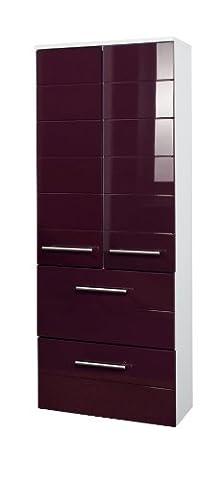 Held Möbel 231.2085 Rimini Midischrank 2-türig, 2 Schubkästen, 2 Einlegeböden, 50 x 130 x 27 cm, hochglanz aubergine / weiß