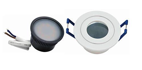 5 x Led Flat flach klein Feuchtraum Einbaustrahler weiß 35mm rund mit warmweißer flachen Led 230Volt