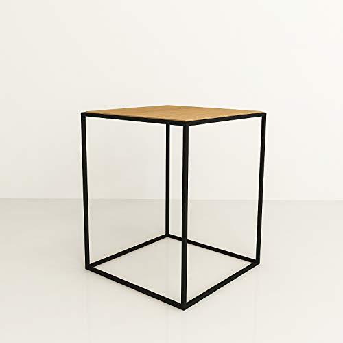 XXL Discount HOME Table Basse en Bois métal Table Basse Table Basse en Bois de chêne huilé/métal Noir Mat Table d'appoint Design Industriel Trou Sofa Vintage