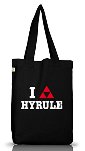 Shirtstreet24, I LOVE HYRULE, Jutebeutel Stoff Tasche Earth Positive Black