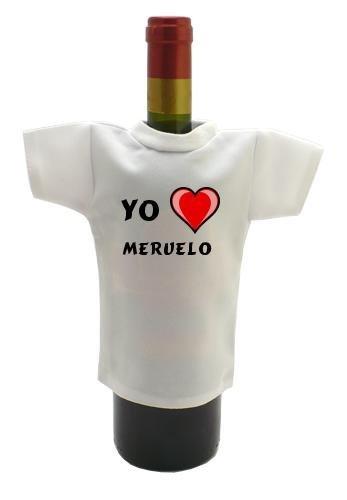 Camiseta blanca para botella de vino con Amo Meruelo (ciudad / asentamiento)