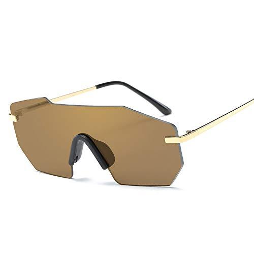 Easy Go Shopping Mode EIN Stück Bunte Sonnenbrille Persönlichkeit Metall Sonnenbrille Trend Sonnenbrille Sonnenbrillen und Flacher Spiegel (Color : Gold)