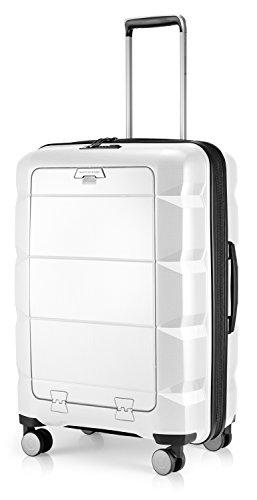 HAUPTSTADTKOFFER - Britz - Valigia rigida con scomparto per laptop Trolley da viaggio espandibile, leggero TSA, 4 ruote, 66 cm, 60 L, Bianco