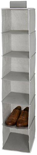 Maturi organizer per scarpe da appendere in armadio o guardaroba a sei livelli/ripiani, in tessuto, grigio, 25x 28x 128cm