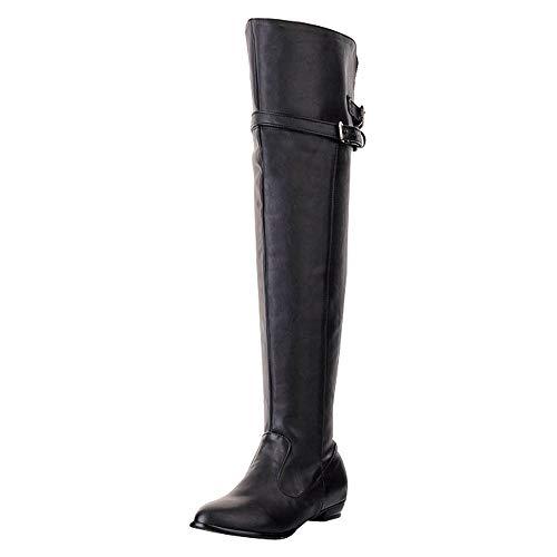 Bottes Hautes Femme Bottes Cuissardes Dames PU Cuir Casual Fermeture Eclair Talons Hauts Automne Hiver Chaussures Overknee Boots