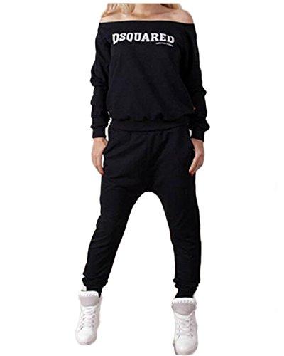 ZANZEA Donna Tute Felpa Pantaloni Sweatshirt Hoody Jogging Giacca Fitness Sport Completo Nero2 IT 40/ASIA L