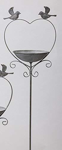 Rustikale Vogeltränke zum Stecken, Antikes Vogelbad in Herzform, Eisen