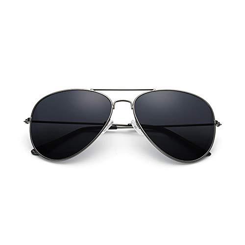 Easy Go Shopping Herren Sonnenbrille Klassisches Design UV Cut Cross & Brillenetui Polarized Circle Sonnenbrille Sonnenbrillen und Flacher Spiegel (Color : 02 schwarz, Size : Kostenlos)
