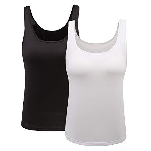 HONFON Damen Basic Leibchen U-Ausschnitt Eingebauter BH Gepolstert Tanktops Solide Farbe