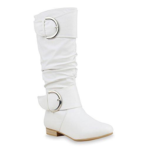 Damen Stiefel Klassische Langschaft Boots Schuhe 144285 Weiss Schnallen 40 Flandell