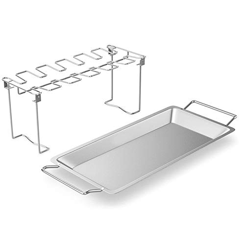 Ohwens Barbecue Shelf,Stainless Steel Chicken Wing Leg Rack Grill Holder with Drip Pan for Cooking BBQ