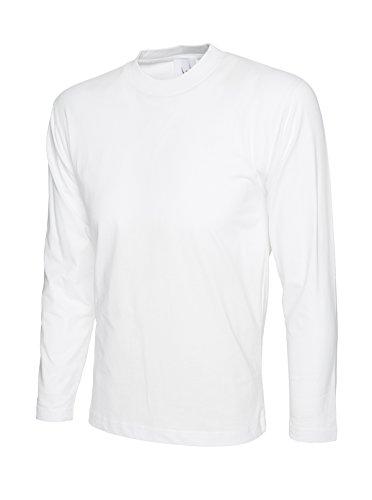 Uneek Langarm-T-Shirt 100% Baumwolle - 2 Farben zur Auswahl Weiß - Weiß