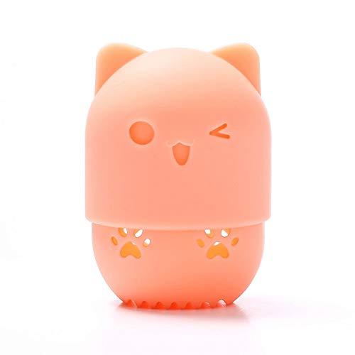 WWLZ Beauty Tools Cute Cosmetic Tool Schwammkoffer Pink Travel Powder Puff Staubdichter Eierständer Weicher Silikon Powder Puff Trocknungshalter für Behälter