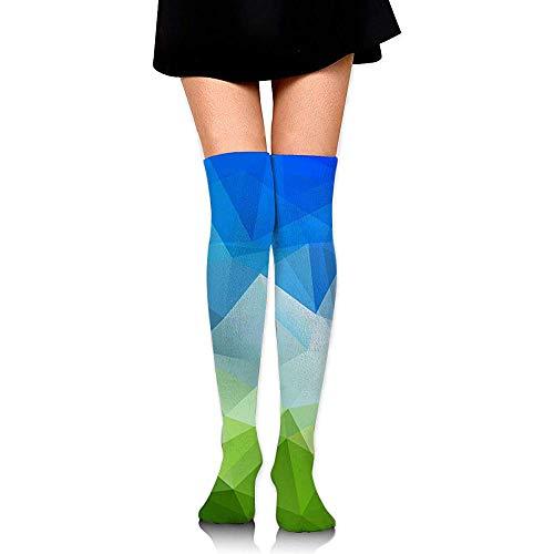 Gr--over-socks Calcetines hasta la rodilla para niñas, estampados a cuadros azules y verdes para mujeres sobre muslos Medias largas y largas