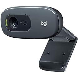 Logitech Webcam HD C270 pour appels vidéo grand avec micro antiparasite et correction automatique de l'éclairage - Noir