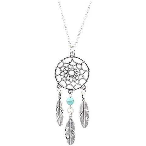 Vollter Charm Dream Catcher Beads Dreamcatcher piuma lunga collana ciondolo - Piuma E Collana