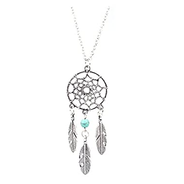 LUFA For Ladies Charm Dream Catcher Dreamcatcher Beads Feather Pendant Long Necklace Silver&50cm