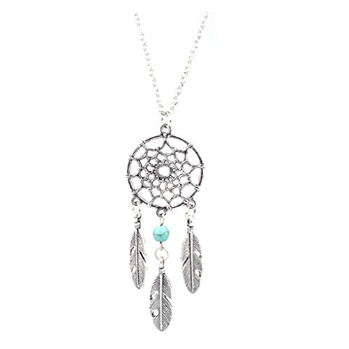 - 317osleySkL - LUFA For Ladies Charm Dream Catcher Dreamcatcher Beads Feather Pendant Long Necklace Silver&70cm