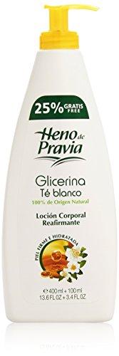 Heno de Pravia Lozione Corporale, Glicerina & Té Blanco Loción Corporal 400, 400 gr