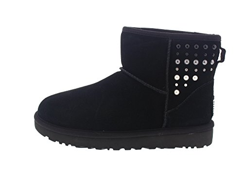 Tronchetto UGG Classic II Mini Pearls in camoscio nero con perle Black