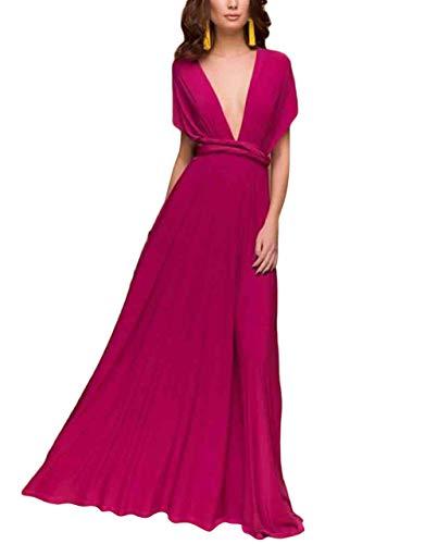 Damen Langes Infinity Abendkleider Hohe Transformer Taille Cabrio Multiway Kleid Fashionable Completi Wrap Brautjungfer Formale Maxikleide Sommerkleider Für S (Color : Hot Pink, Size : M)