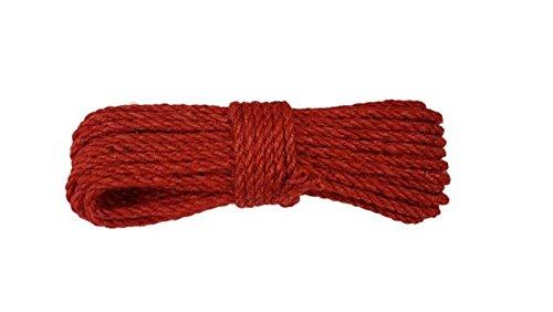 JUTESEIL Naturfasern, Tau, Dekoschnurr, Seil, fi 6mm/20 Meter - verschiedene Farben (rot)