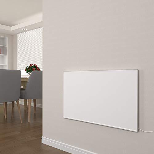 Infrarot Heizung 300, 450, 580, 700, 900, 1100 Watt mit Thermostat Weiß Carbon Crystal Paneelheizung - Überhitzungsschutz Wandheizung Design Infrarotheizung (580W + Thermostat)