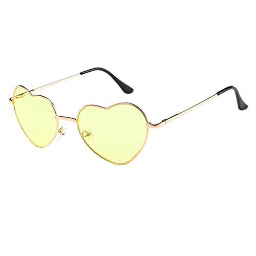 Dragon868 Mens Womens Sunglasses Metal Frame Damen Herz Form Sonnenbrille Lolita Liebe Sonnen-Überbrille UV400 Schutz (C)