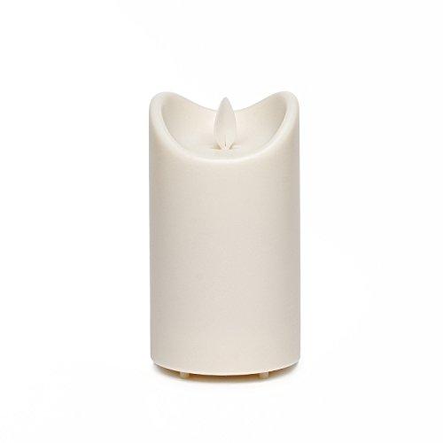 Außenkerzen Outdoor-Kerze Wasserdichte Tanzen Flamme Flickering Kerze Licht mit Timer, Wasserdicht Bewertung ist IP44, batteriebetrieben, 5 Stunden Timer, für Outdoor Garten Dekoration, Elfenbein (7 x 12,7cm)