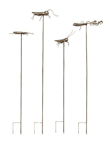 imax-acerra-metal-insect-garden-stake-silver-set-of-4