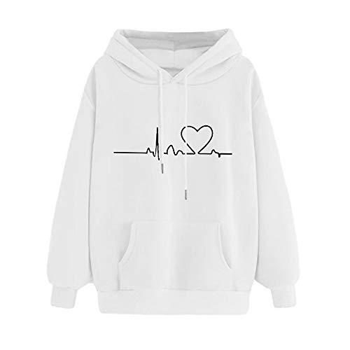 ZHJA 2019 New Large Size Pullover Frauen Plus Samt Herbst Pullover ECG Love Print Lose Kapuzenpullover Langarm-Bluse