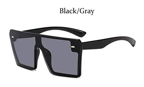Cranky Orange Fashion Quadrat Sonnenbrille Übergroße Frauen Randlose Spiegel Marke Große Sonnenbrille Weiblich Schwarz Schattierungen Männer Flat Top Unisex, Schwarz Grau