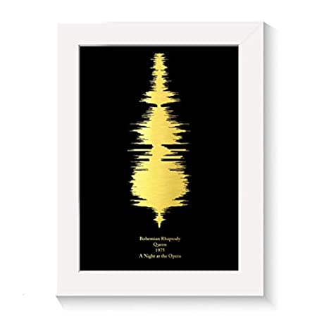 Personalised music lovers favourite song print gift sound waves gold silver copper foil, any song, any colour scheme