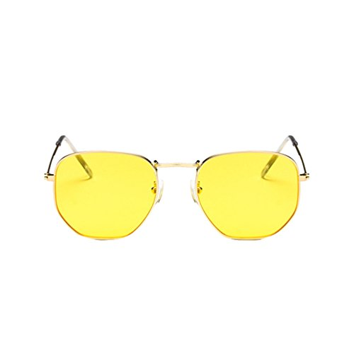 Ketamyy retro cornice in metallo occhiali da sole quadrati moda uomo e donna selvaggia luminoso occhiali sole trasparente giallo/oro cornice taglia unica