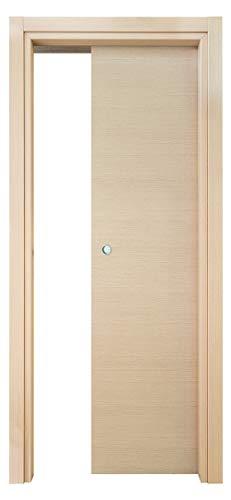 Kimono Porta Interna Scorrevole a Scomparsa Ecodoor 2.0, Rovere Sbiancato, Reversibile (210x70)