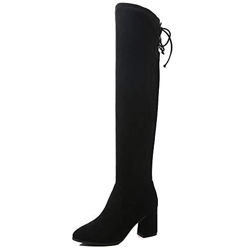 cy Overknee-Stiefel Aus Wildleder Studs Schnürschuhe Damenschuhe High Heels Dicker Elastizität Knight Boots Für Damen Bankett REIT Schuhe,Black-EU35/UK2.5