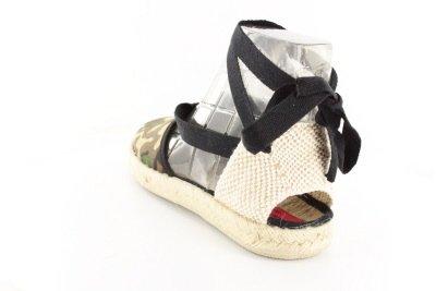 AM415 - Andres Machado - Leinen Sandaletten mit Jute im Tarnmuster. Gr. 32 Mix