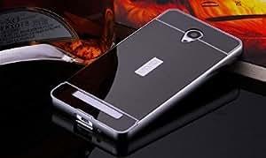 mobbysol™ Luxury Metal Bumper + Acrylic Mirror Back Cover Case For VIVO Y28 (BLACK)
