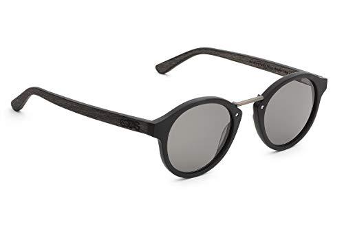 TAKE A SHOT - Runde Holz-Sonnenbrille unisex, Holz-Bügel, Metallsteg und Kunststoff-Rahmen, UV400 Schutz, rückentspiegelte Gläser, Nox 2.0