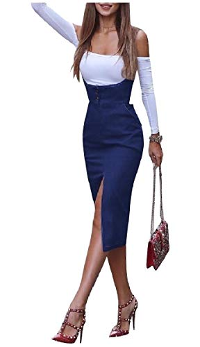 CuteRose Women Fine Cotton Over Waist Sleeveless Pencil Sheath Split Dress Blue XS Cowl Neck Sheath Dress