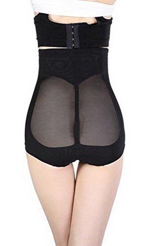 Smile YKK Culotte Gainante Femme Lingerie Sculptant Taille Haute Remonte Fesse Noir