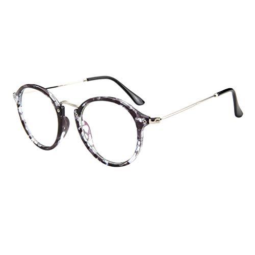 REALIKE Unisex Brille Elegant Flacher Spiegel Runder Rahmen Brillengestell Brille Leopardenmuster-Brillengestell Aus,Anti-Blaulichtbrille, Farbe Mehrfache Farbauswahl