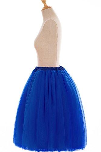 Babyonline® Damen Midi Swing Petticoat Reifrock Unterrock Petticoat Tüllrock Underskirt Crinoline,60 CM Länge Underskirt Royal Blau